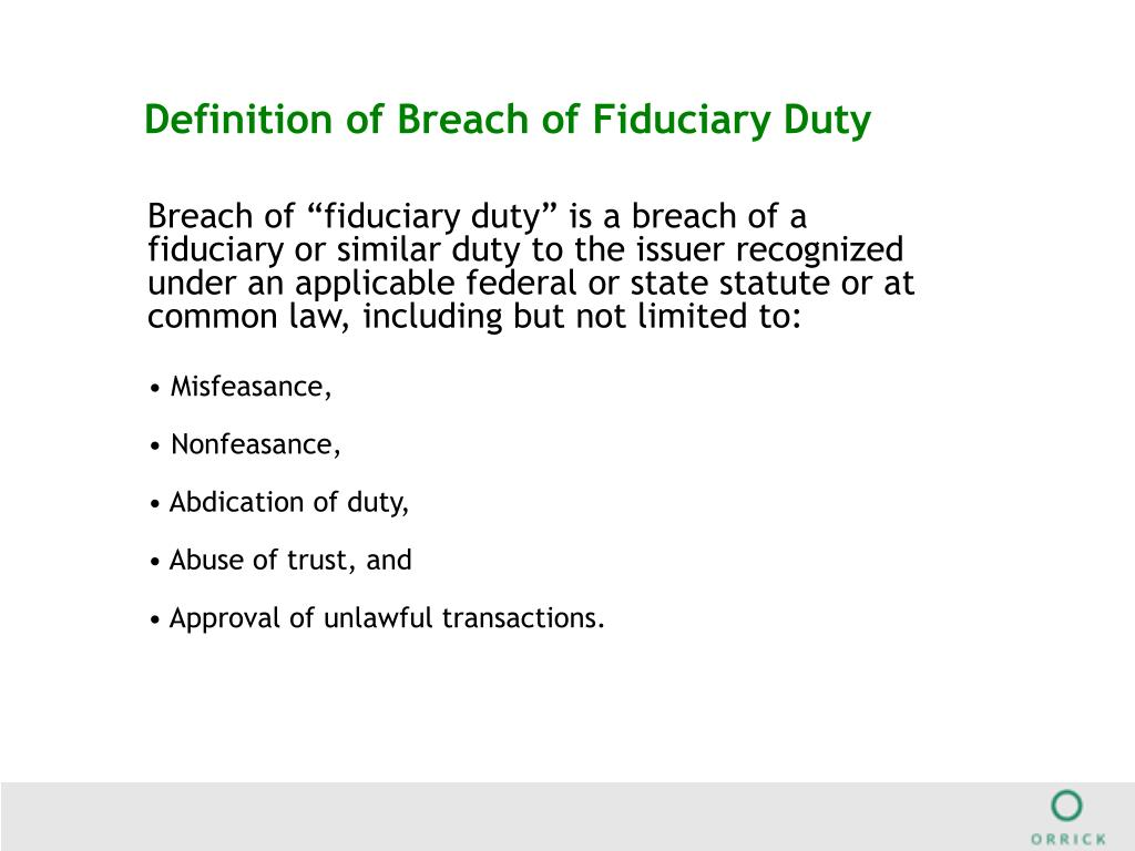 Definition of Breach of Fiduciary Duty
