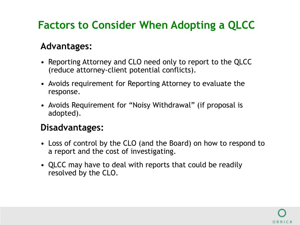 Factors to Consider When Adopting a QLCC
