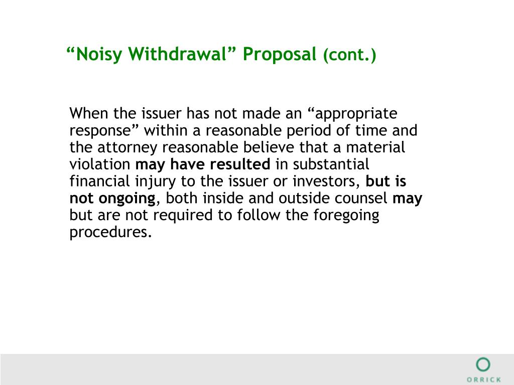 """""""Noisy Withdrawal"""" Proposal"""