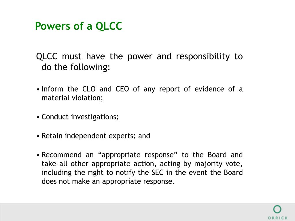 Powers of a QLCC