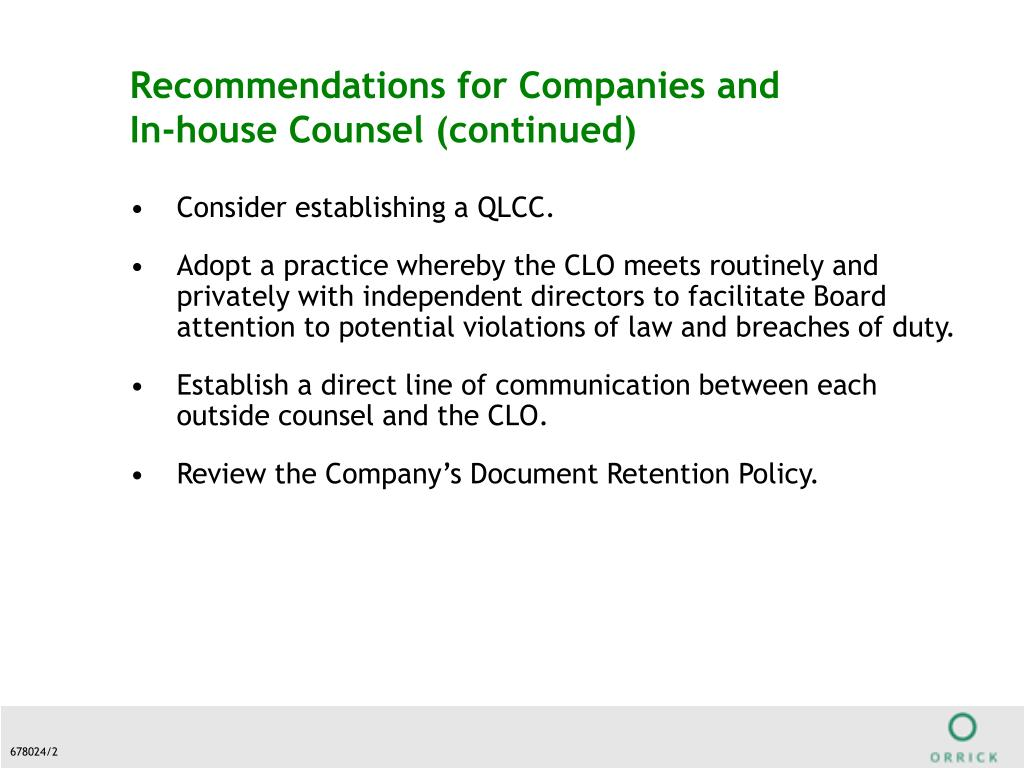 Recommendations for Companies and