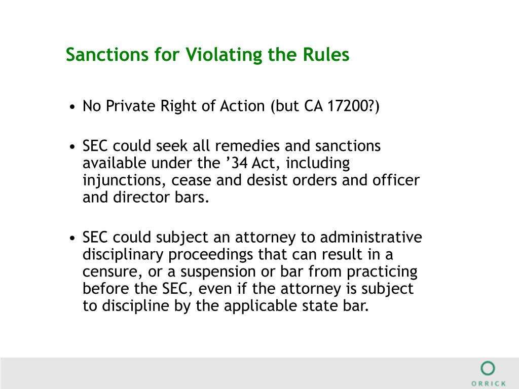 Sanctions for Violating the Rules