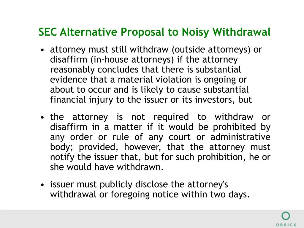 SEC Alternative Proposal to Noisy Withdrawal