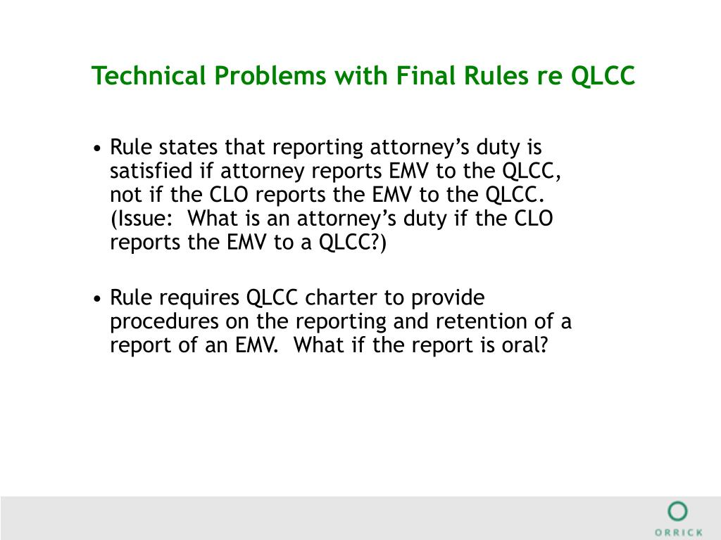Technical Problems with Final Rules re QLCC