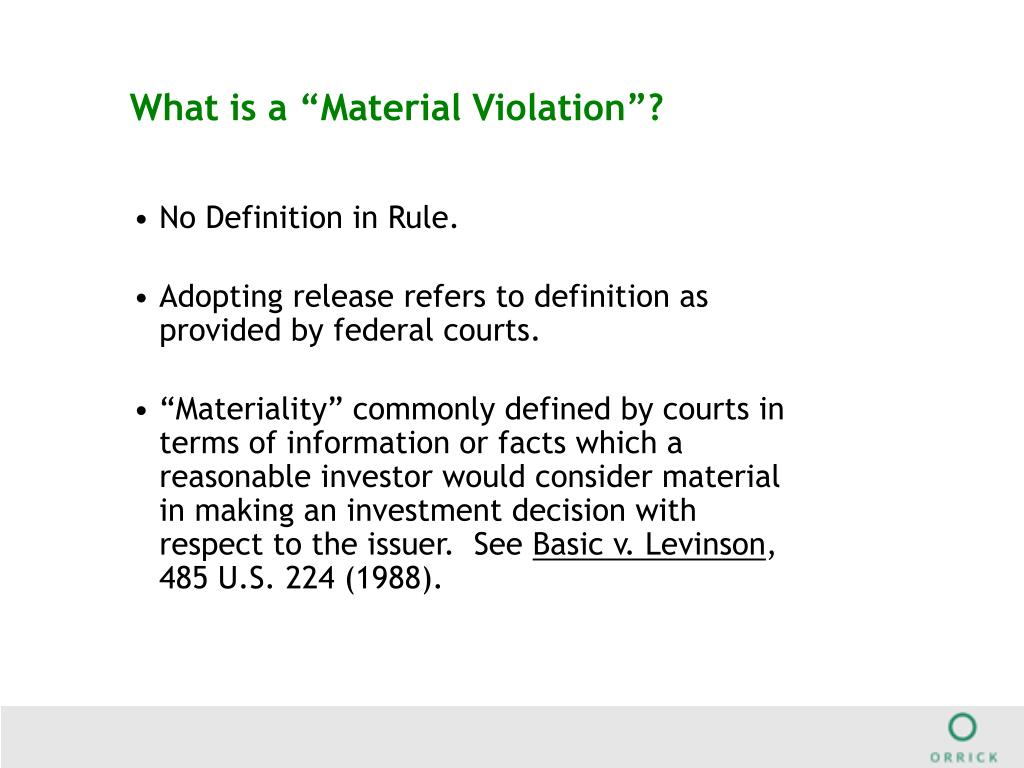 """What is a """"Material Violation""""?"""