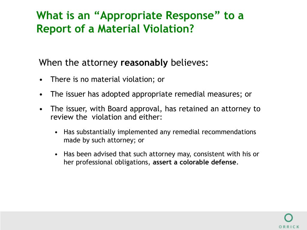 """What is an """"Appropriate Response"""" to a Report of a Material Violation?"""