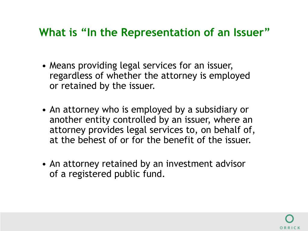 """What is """"In the Representation of an Issuer"""""""