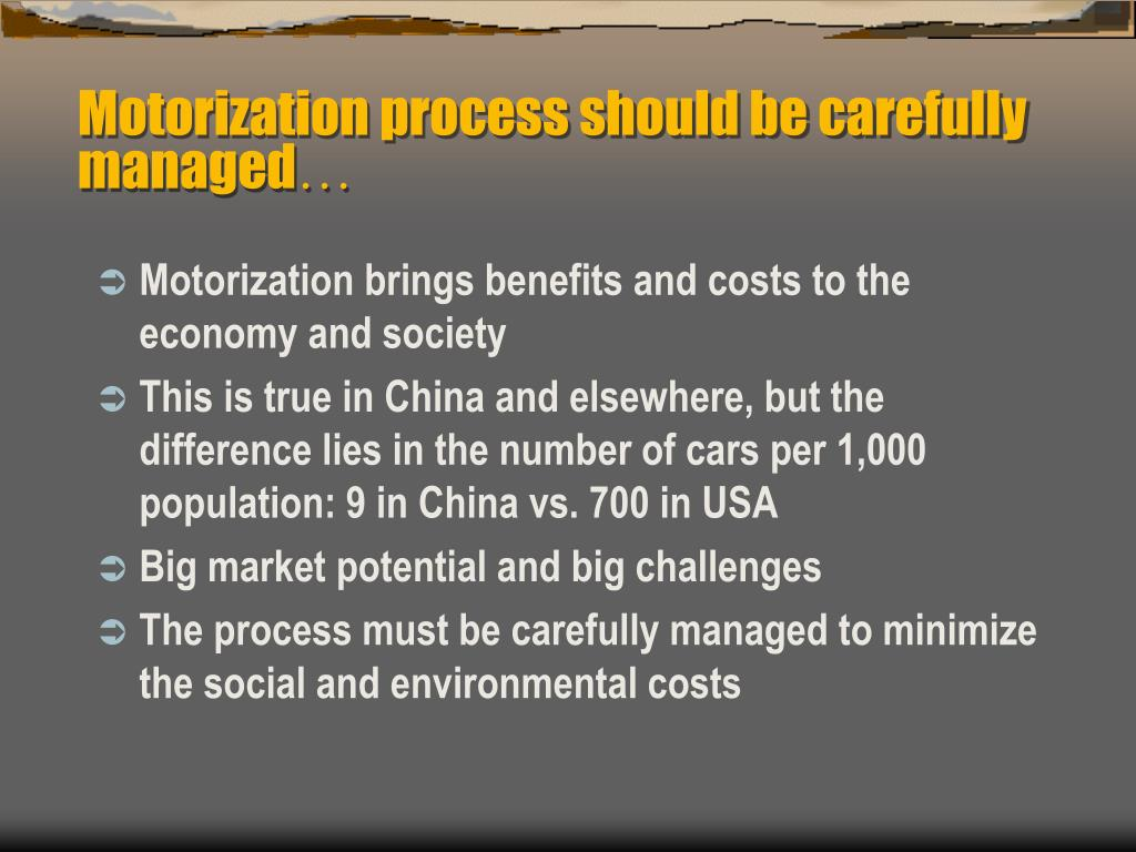 Motorization process should be carefully managed