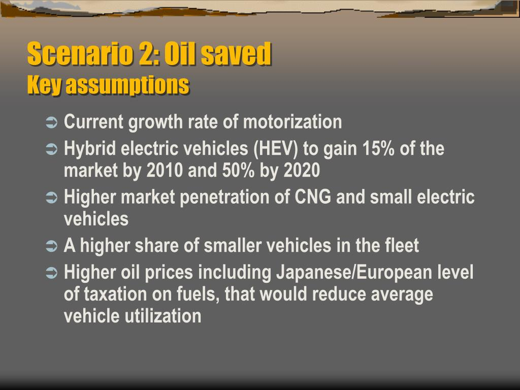 Scenario 2: Oil saved