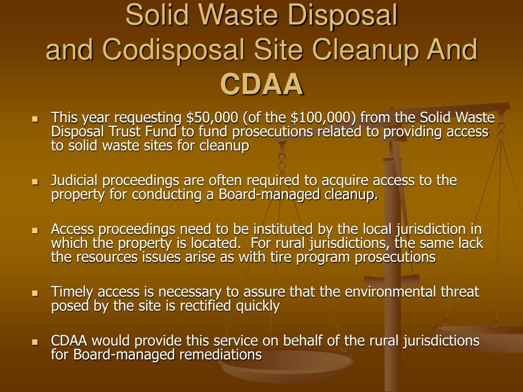Solid Waste Disposal and Codisposal Site Cleanup And