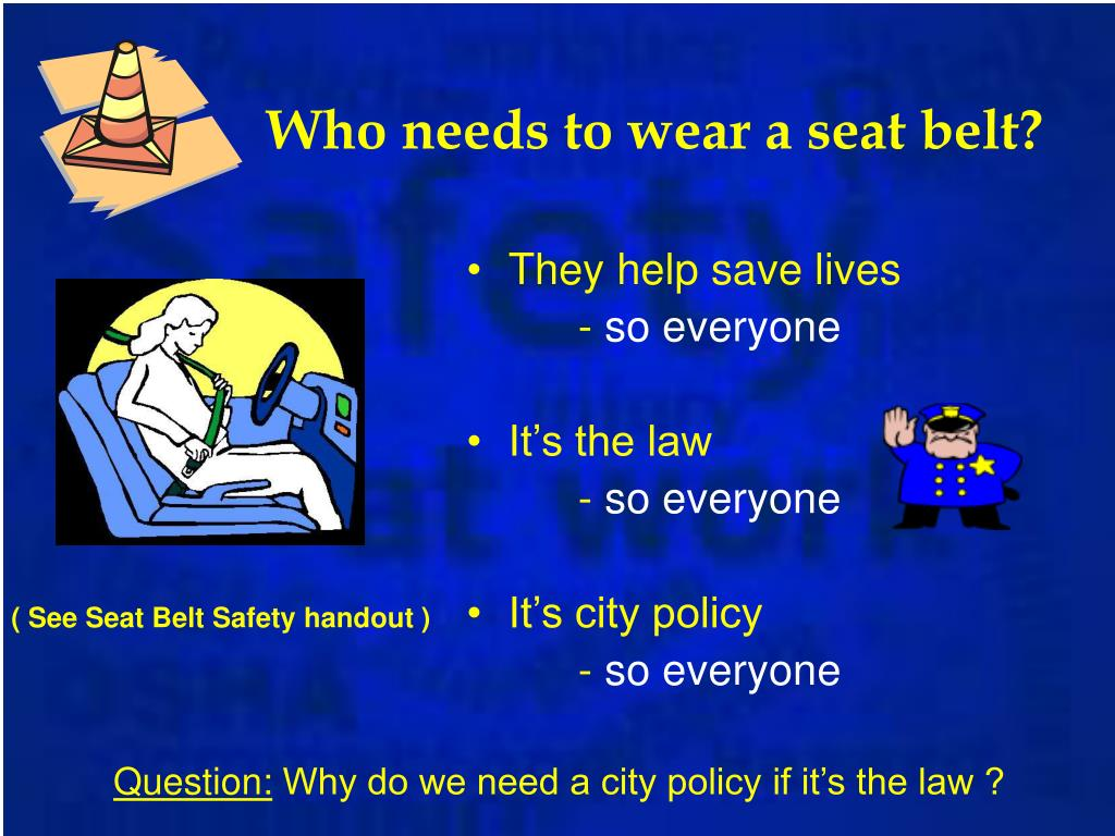 Who needs to wear a seat belt?