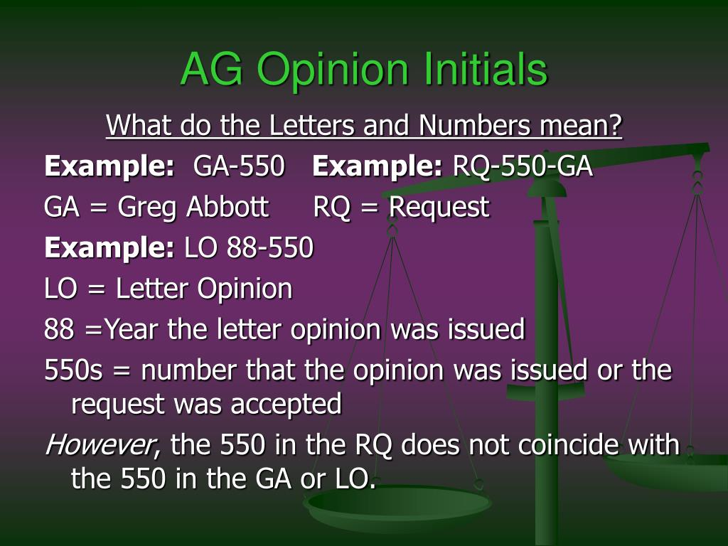 AG Opinion Initials