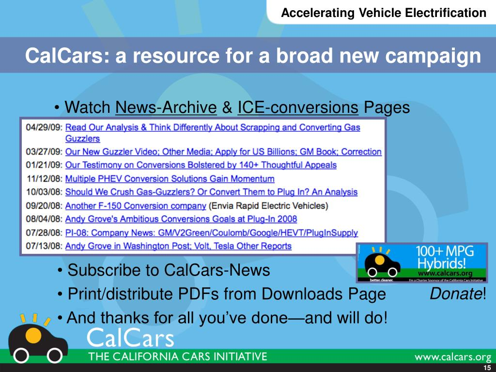CalCars: a resource for a broad new campaign