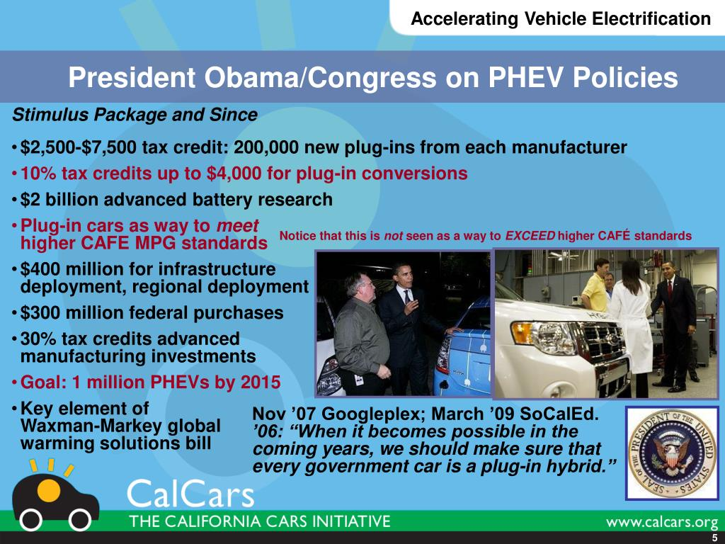 President Obama/Congress on PHEV Policies