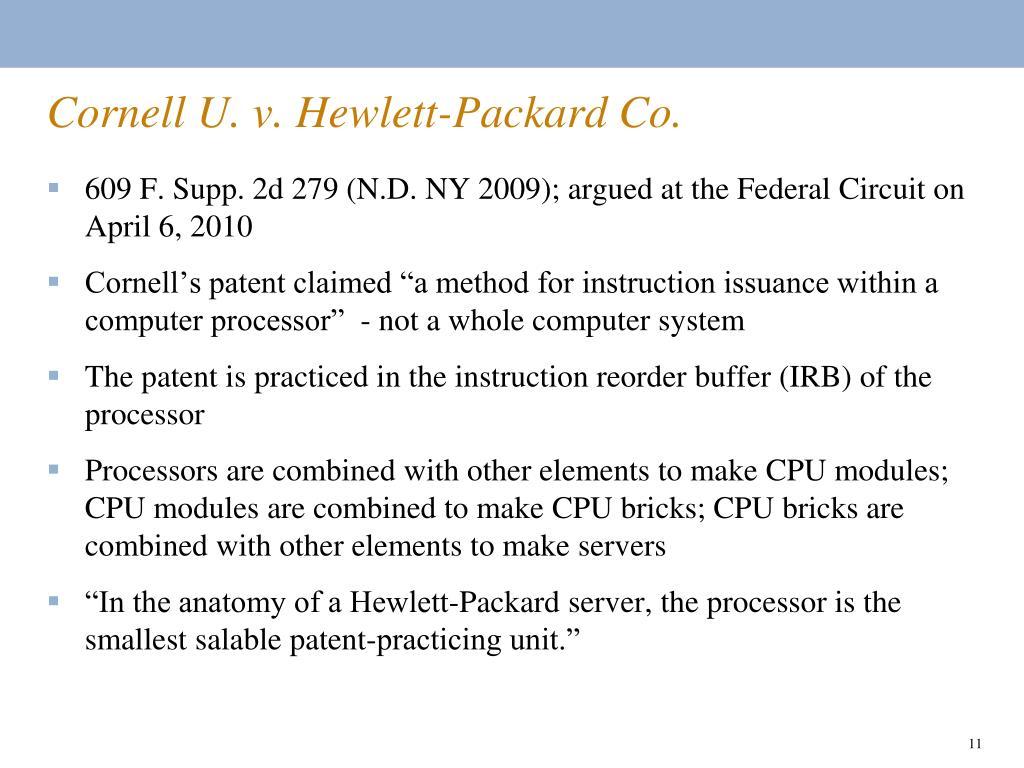 Cornell U. v. Hewlett-Packard Co.