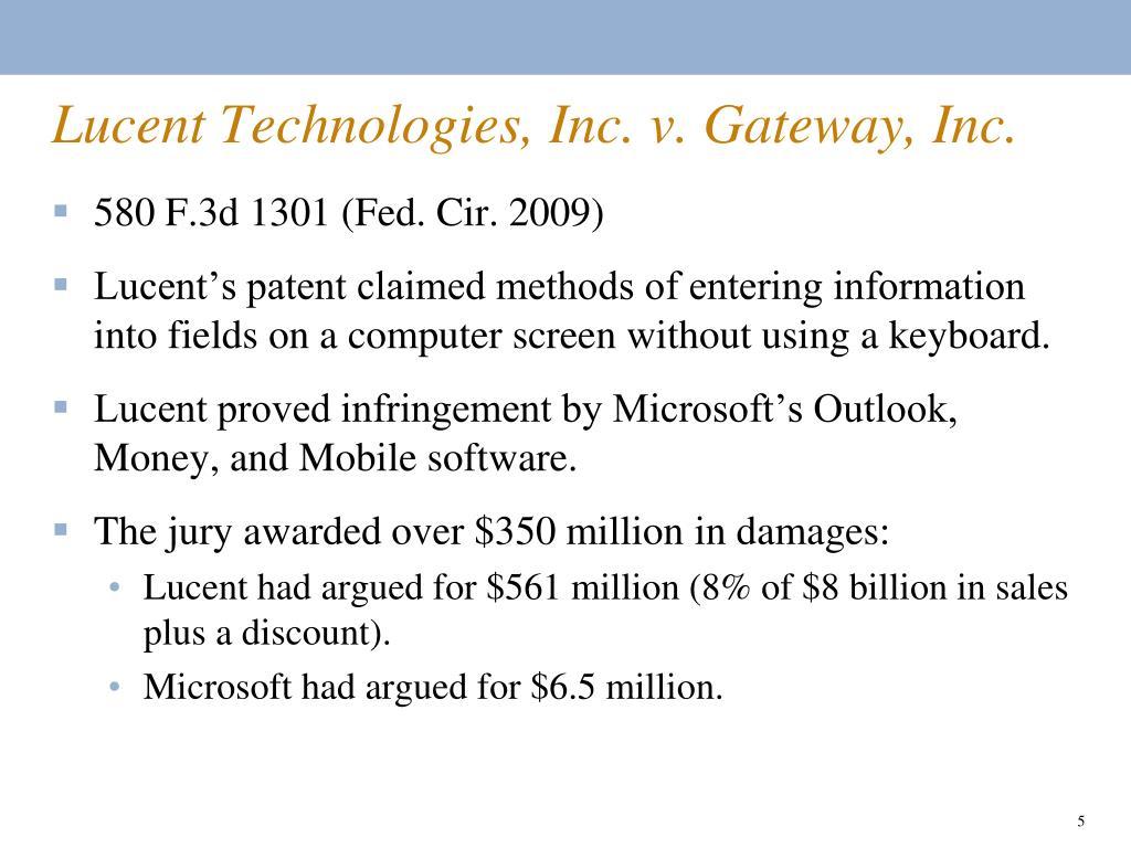Lucent Technologies, Inc. v. Gateway, Inc.