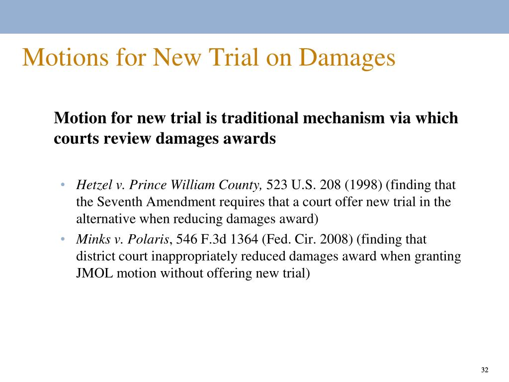 Motions for New Trial on Damages