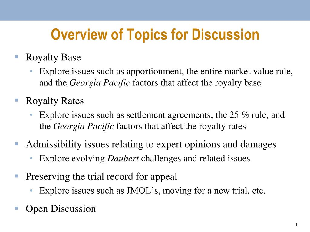 Overview of Topics for Discussion