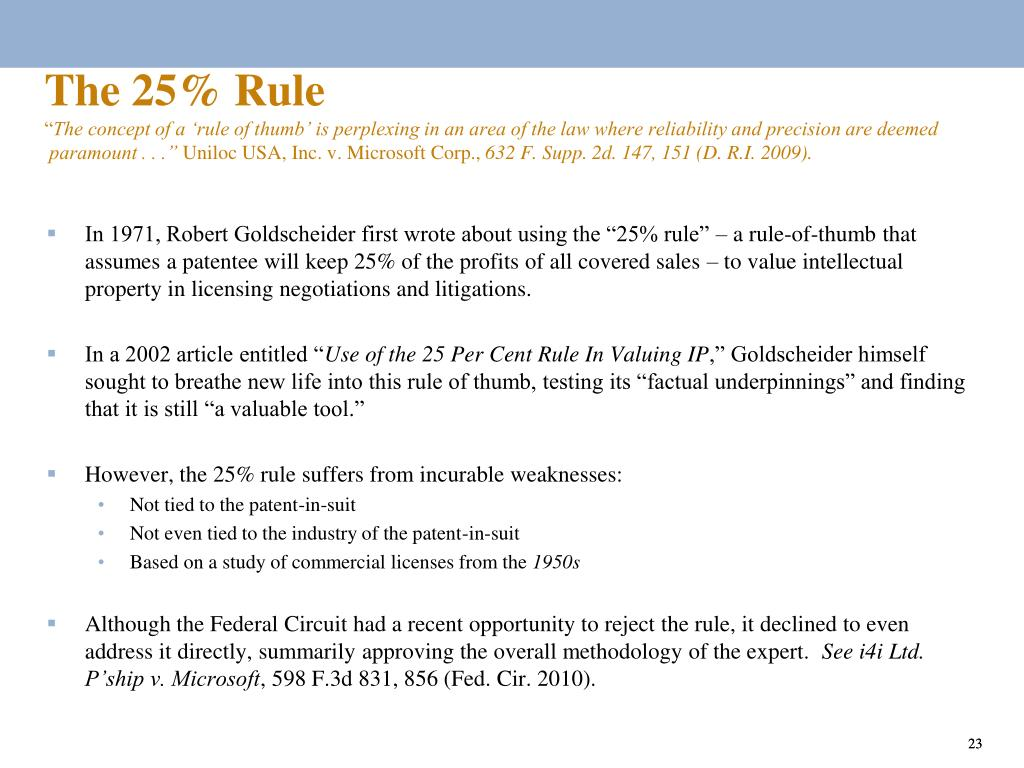 The 25% Rule