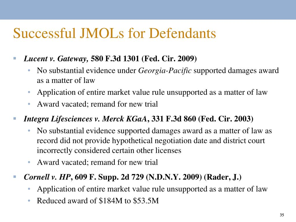 Successful JMOLs for Defendants