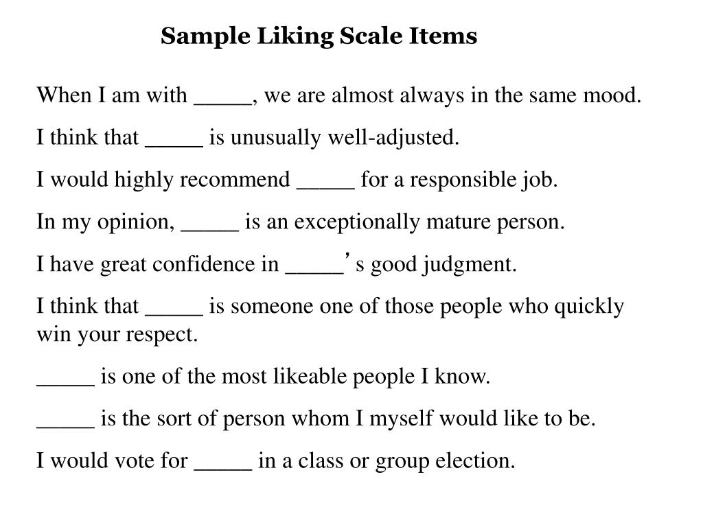 Sample Liking Scale Items