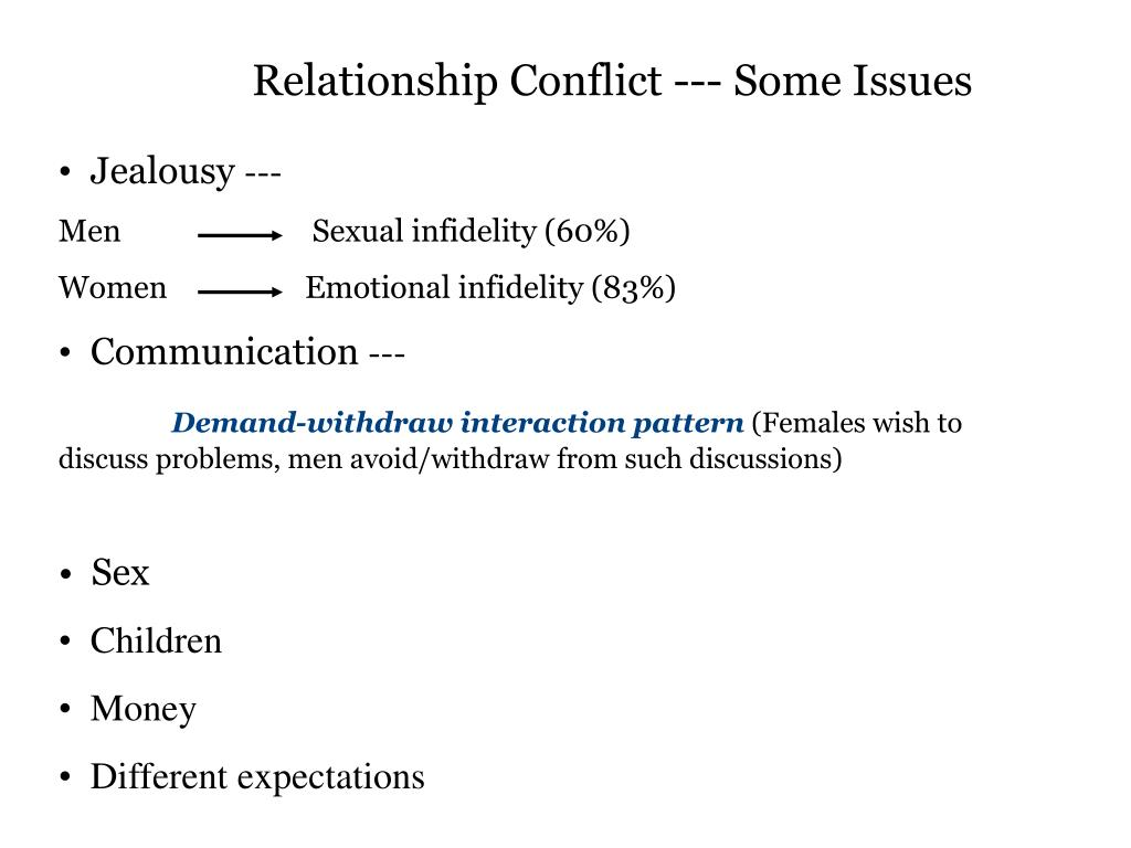 Relationship Conflict --- Some Issues