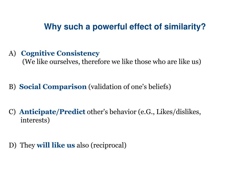 Why such a powerful effect of similarity?
