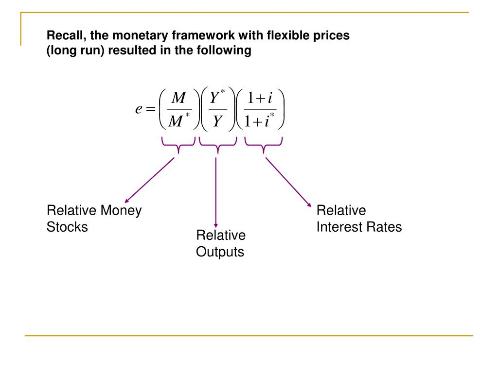 Recall, the monetary framework with flexible prices (long run) resulted in the following
