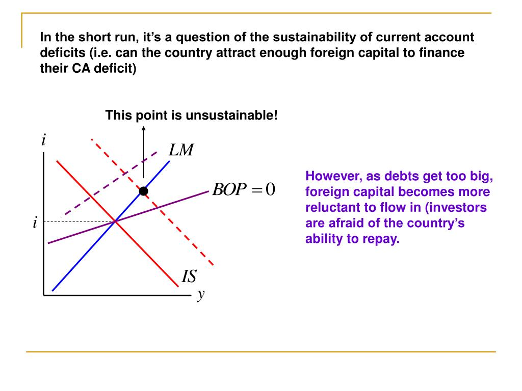 In the short run, it's a question of the sustainability of current account deficits (i.e. can the country attract enough foreign capital to finance their CA deficit)