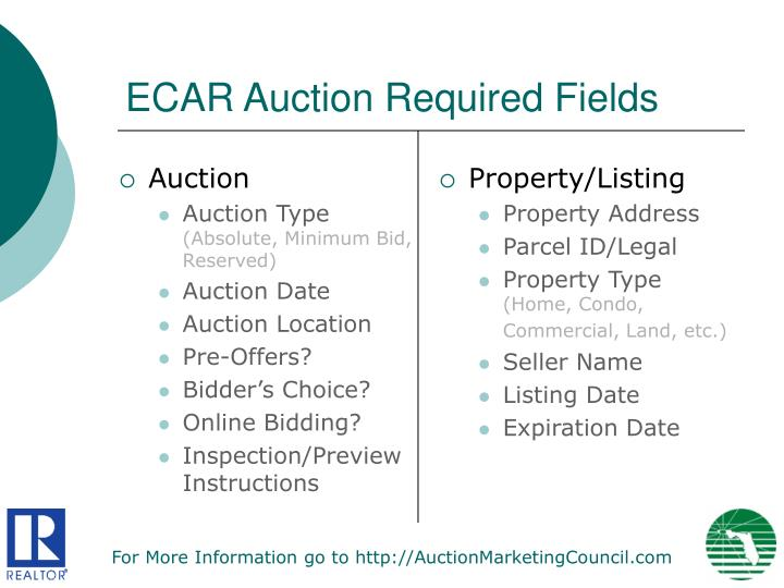 Ecar auction required fields