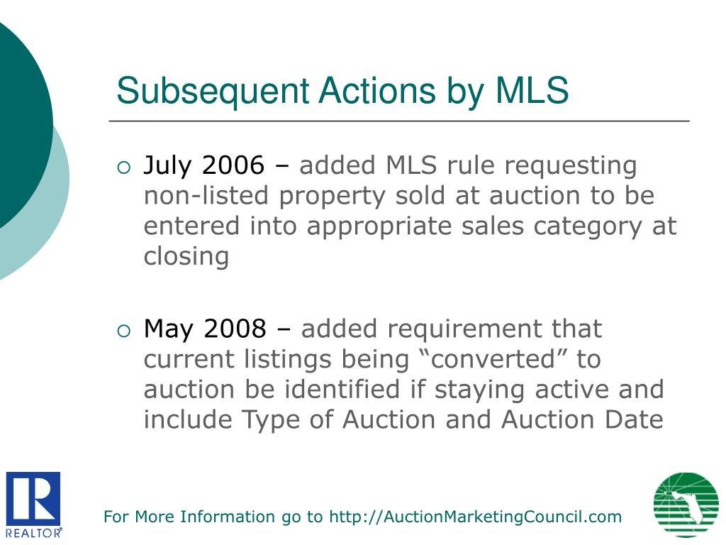 Subsequent Actions by MLS