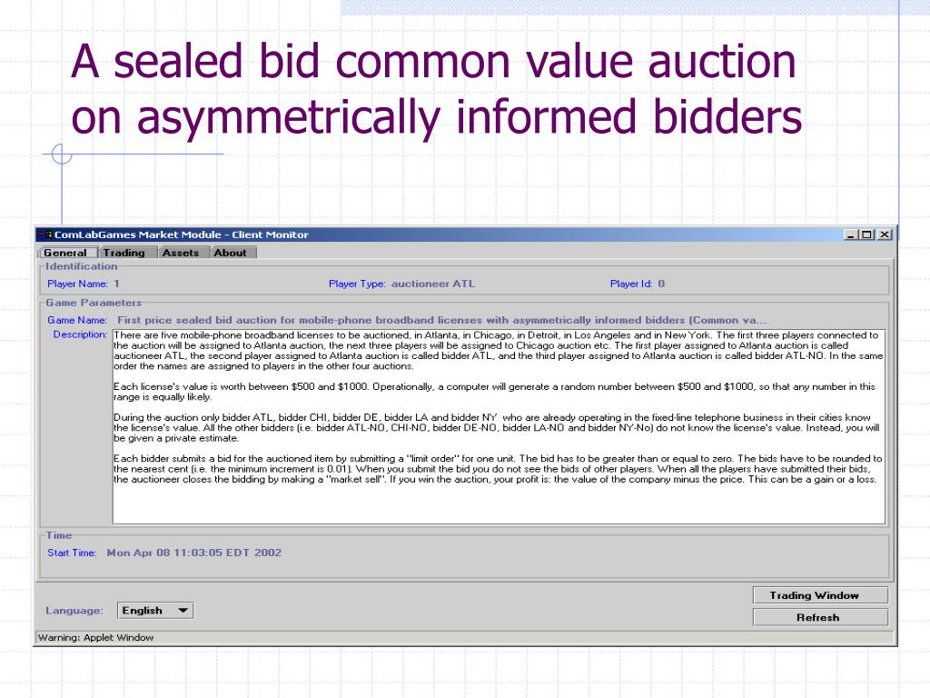 A sealed bid common value auction on asymmetrically informed bidders