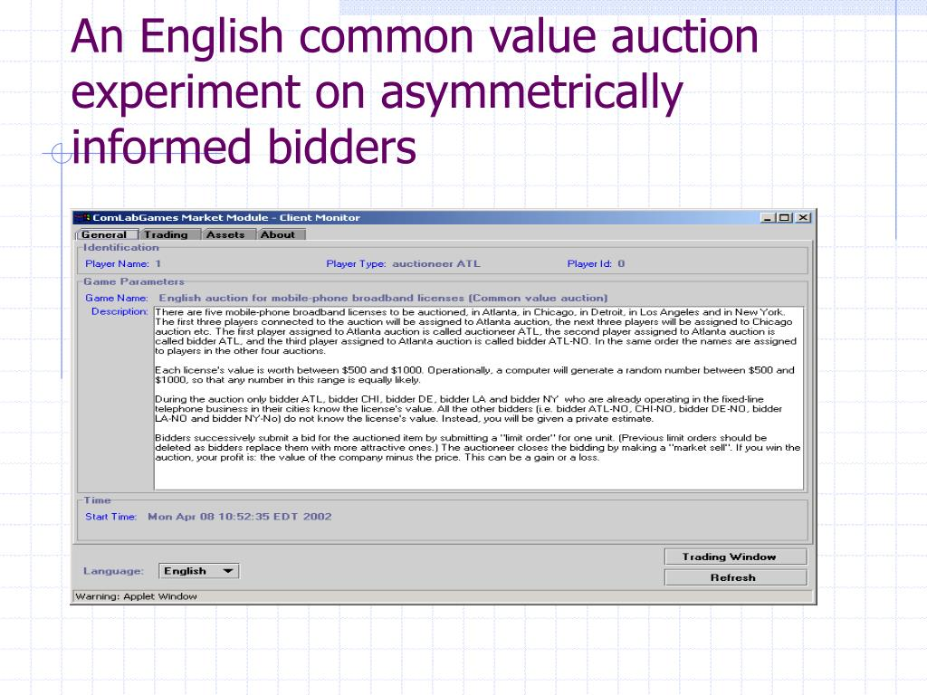 An English common value auction experiment on asymmetrically informed bidders