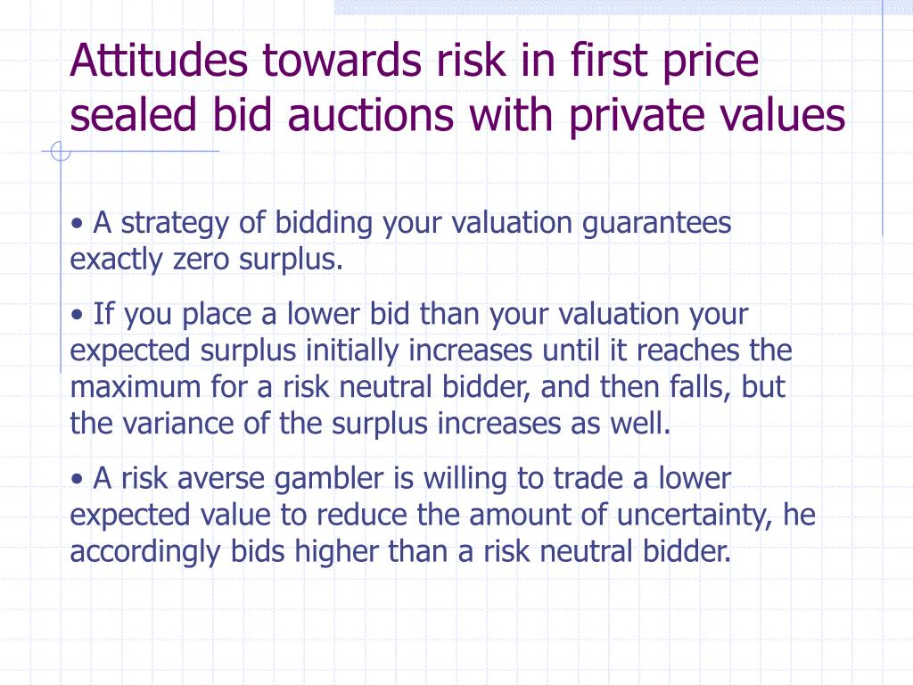 Attitudes towards risk in first price sealed bid auctions with private values