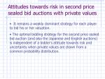 attitudes towards risk in second price sealed bid auctions with private values