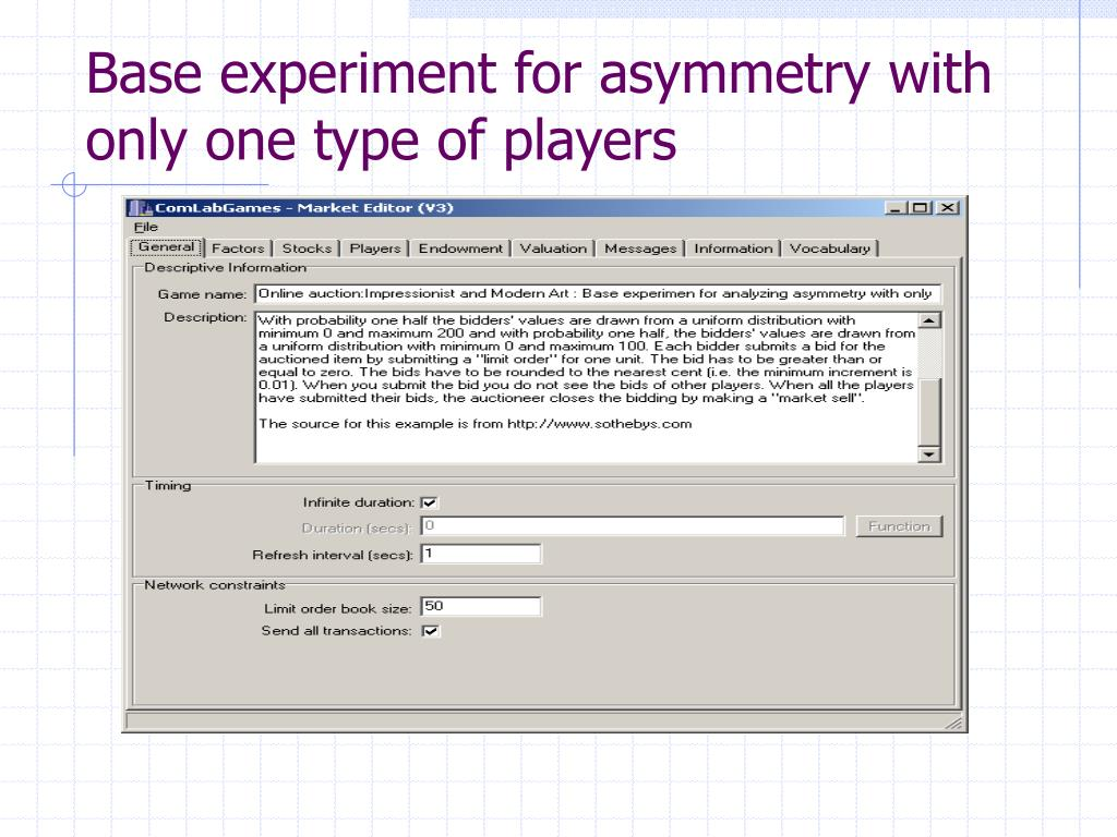 Base experiment for asymmetry with only one type of players