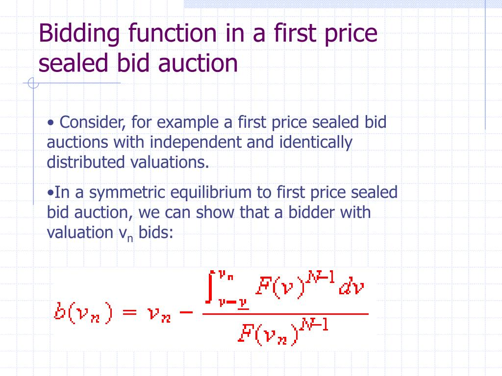 Bidding function in a first price sealed bid auction