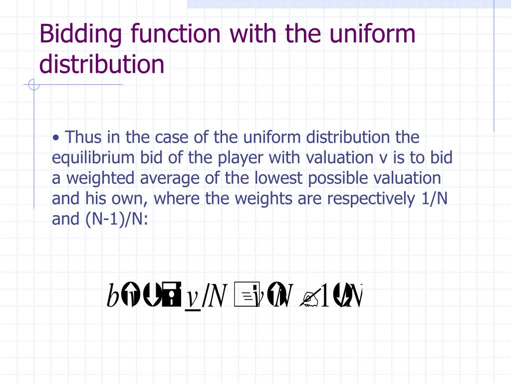 Bidding function with the uniform distribution