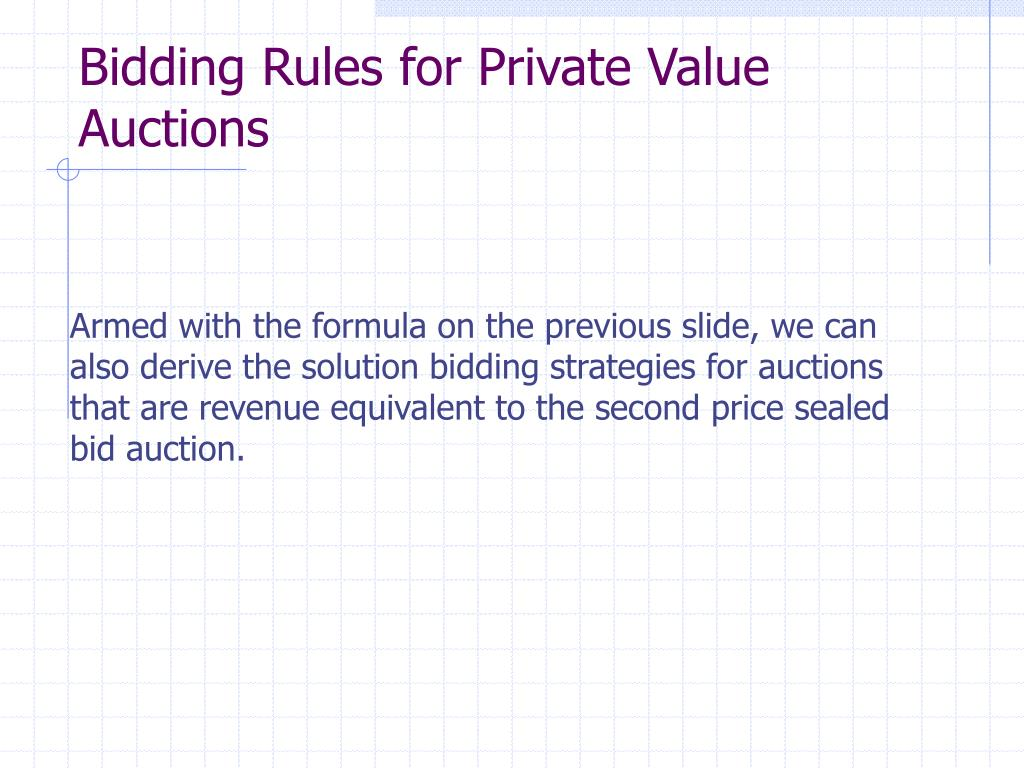 Bidding Rules for Private Value Auctions