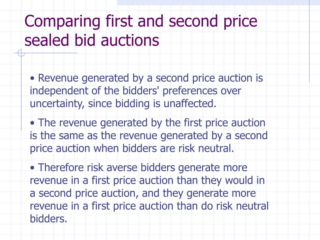 Comparing first and second price sealed bid auctions