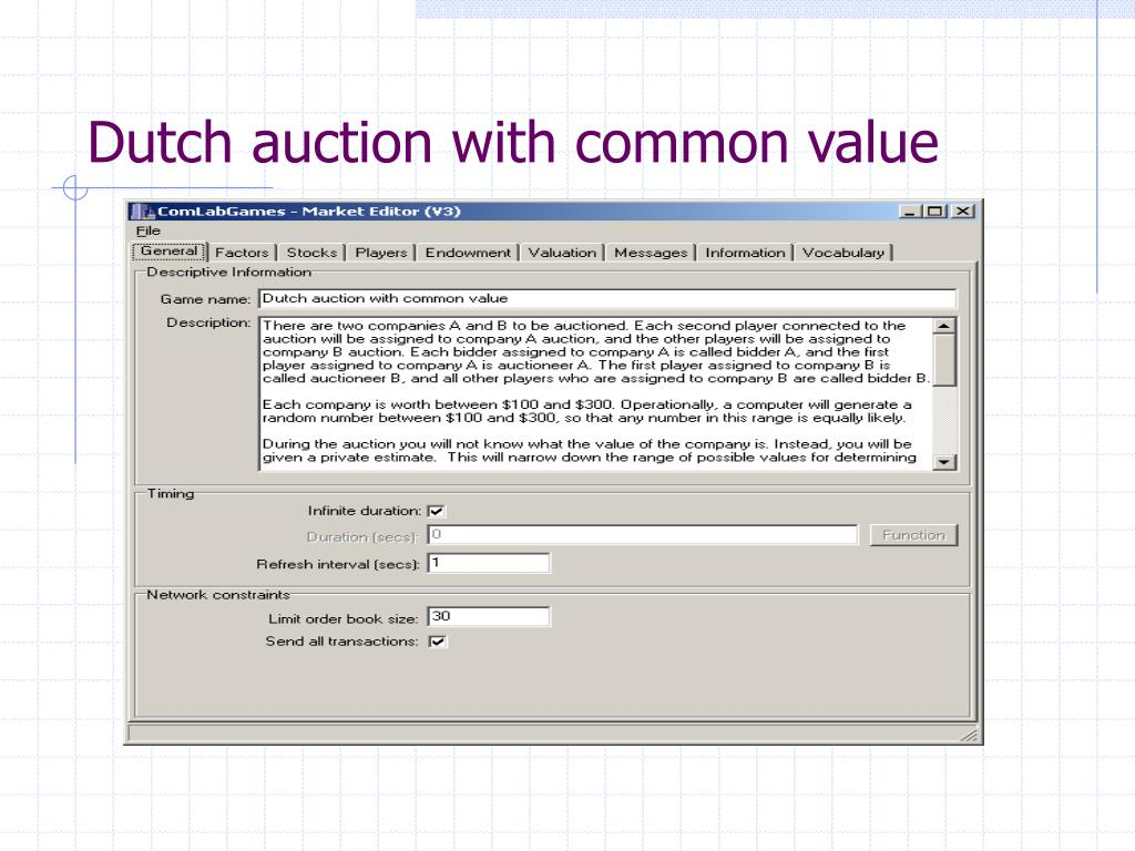 Dutch auction with common value