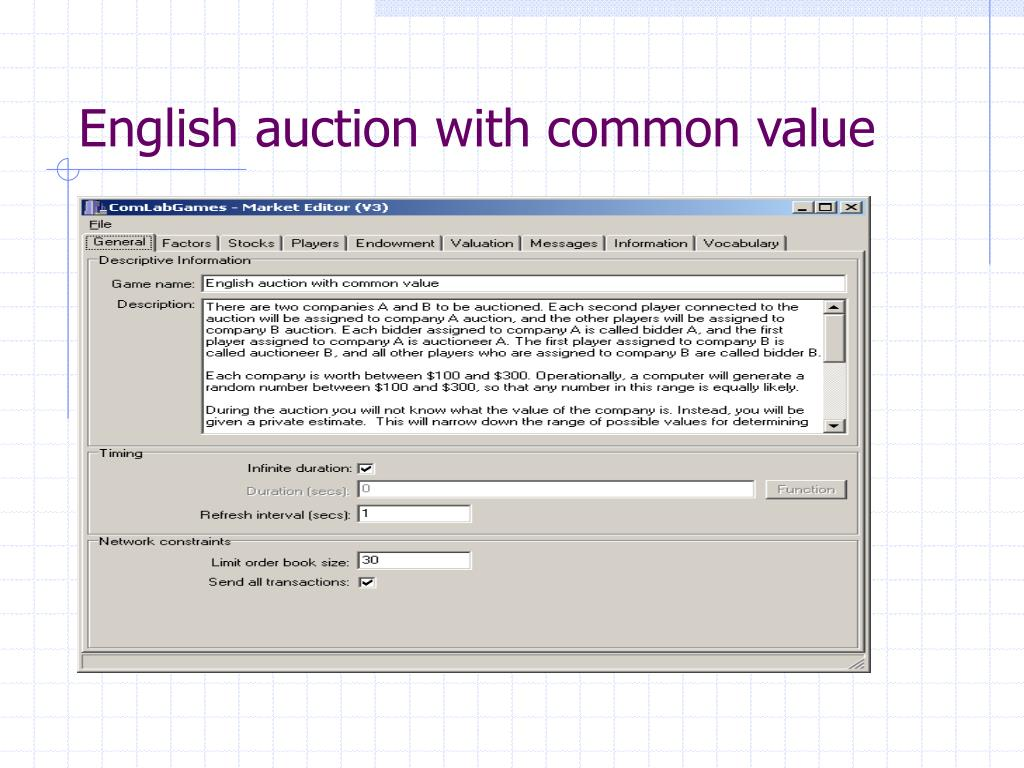 English auction with common value