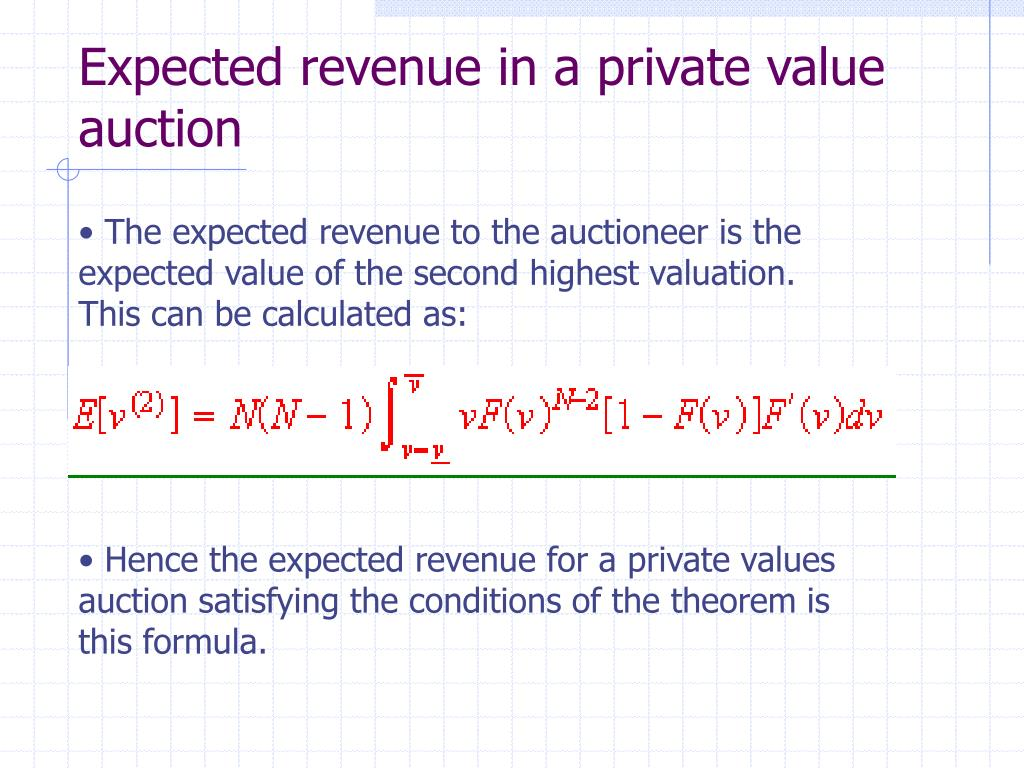 Expected revenue in a private value auction