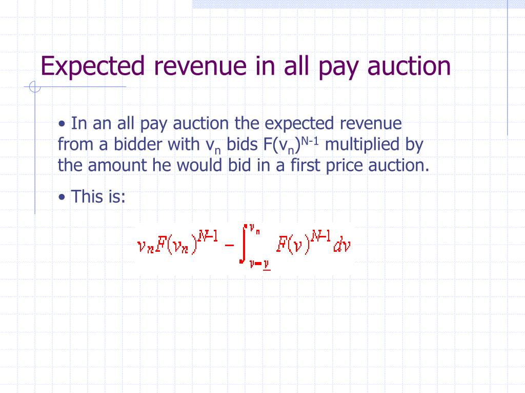 Expected revenue in all pay auction