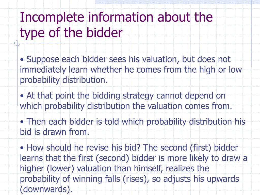 Incomplete information about the type of the bidder