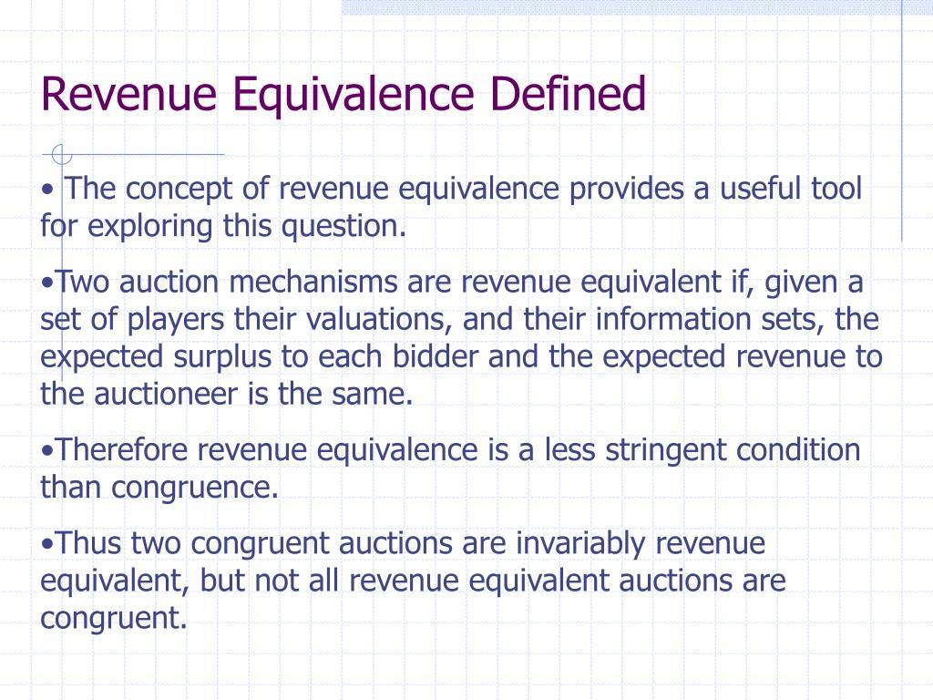 Revenue Equivalence Defined
