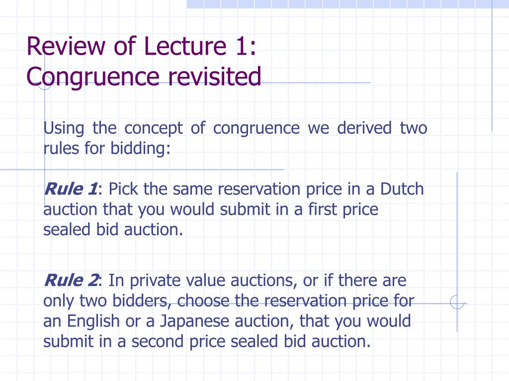 Review of Lecture 1: