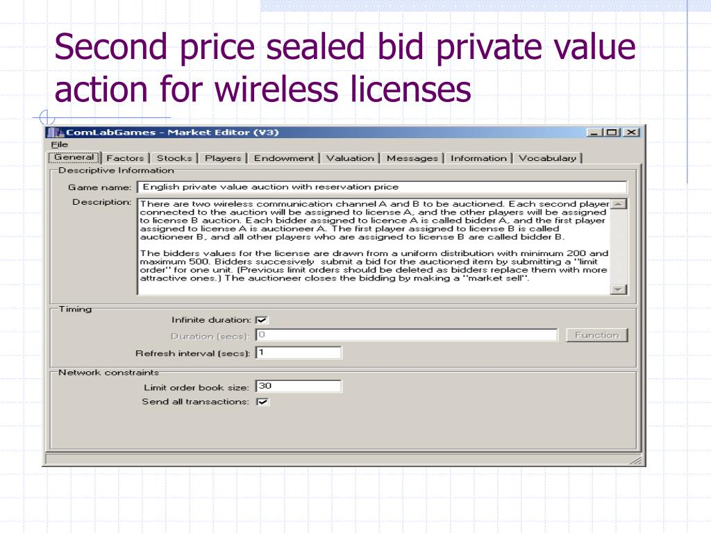 Second price sealed bid private value action for wireless licenses