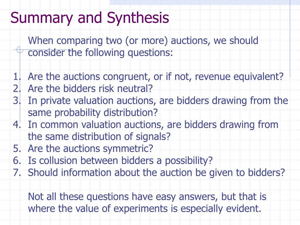 Summary and Synthesis