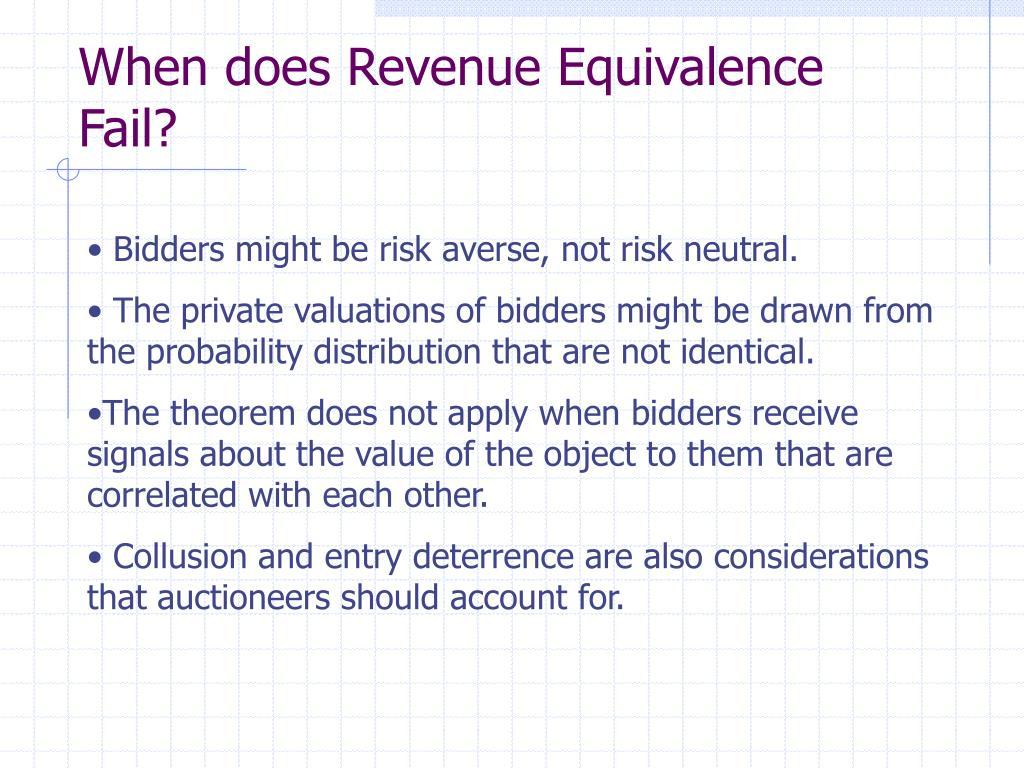 When does Revenue Equivalence Fail?